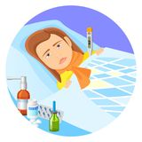 Child lying in bed with fever vector illustration. Child lying in bed with fever, sad face expression. Little girl under blanket with thermometer showing high Royalty Free Stock Photo