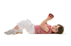 Child lying on the floor stock images
