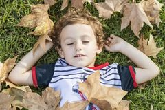 Child lying on the grass with his eyes closed, surrounded by fallen autumn leaves. Aun concept. Child lying on the grass with his eyes closed, surrounded by stock image