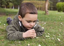 Child lying on grass in spring Stock Photo