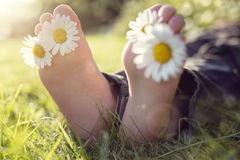 Child lying in meadow relaxing in summer sunshine. Child with daisy between toes lying in meadow relaxing in summer sunshine Royalty Free Stock Images