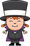 Child Magician. A cartoon illustration of a girl magician standing and smiling Royalty Free Stock Images