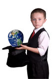Child Magician with globe Stock Image