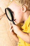 Child with magnifying glass Stock Image
