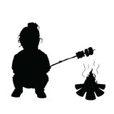 Child make meal on fire silhouette illustration. In black Royalty Free Stock Photos