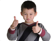 The child makes the sign of best. The child show his fingers Stock Images