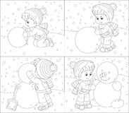 Child makes a snowman Stock Photos