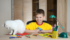 Child making Christmas decorations with cat on the table. Make christmas decoration with your own hands. Stock Photos