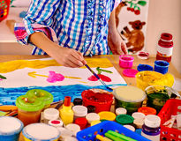 Child making decoration card Royalty Free Stock Photography