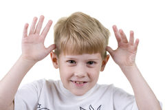 Child Making Faces. A child makes faces at the camera stock images