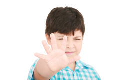 Child making stop signal with his hand Stock Images