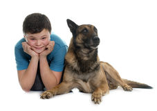 Child and malinois. In front of white background Stock Photos