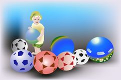 Child and many balls illustration Stock Photography