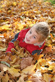 Child in maple leaves Stock Photo