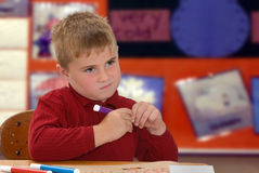 Child with markers Stock Photography