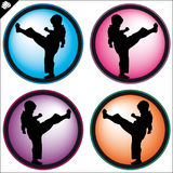 Child in Martial art colored simbol set. Vector. Royalty Free Stock Photography
