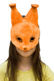 Child mask squirrel Royalty Free Stock Photo