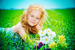 Child on a meadow Stock Photo