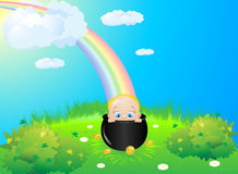 Child meadow rainbow Royalty Free Stock Photo
