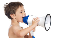 Child with a megaphone Stock Photo