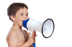 Child with a megaphone Stock Images