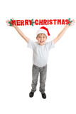 Child Merry Christmas message Royalty Free Stock Photo