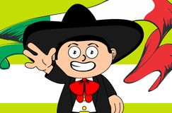 Child mexican mariachi cartoon expressions background Stock Photo