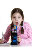 Child with microscope Royalty Free Stock Photos