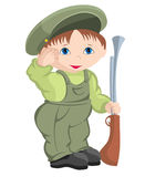 Child - military. The child playing in a trade royalty free illustration