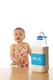 Child & milk. Little cute girl with milk Stock Photo