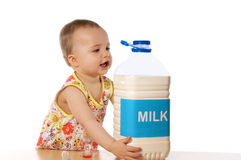 Child & milk royalty free stock photography