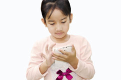 Child with mobile phone. Children are on the phone with a white background Stock Images
