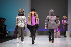 Child models walk the catwalk Royalty Free Stock Photography