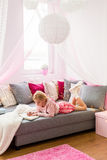 Child in modern style bedroom Stock Photo