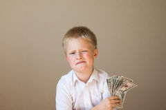Child with money (dollars) Stock Photography