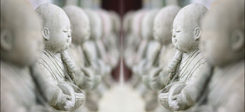 Child Monk Dolls ,The Art of statue in the Temple. Stock Photography