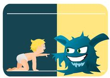 Child and monster Stock Images