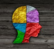 Child Mood Psychology. Change as a young person head shape made from crumpled paper as a mental health metaphor for brain thinking disorder and neurology royalty free illustration