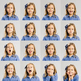 Child moods. Multiple portraits of the same little girl making diferent expressions Royalty Free Stock Image