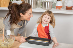Child and mother happy ready to baking cake Royalty Free Stock Photos