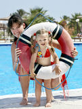 Child with mother near swimming pool. Little girl with mother near swimming pool Stock Photography