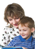 Child with mother read the book Royalty Free Stock Photo