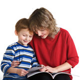 Child with mother read the book Stock Photo