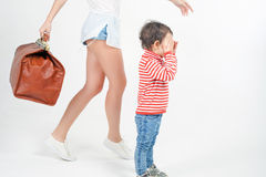 Child with mother ready to travel to Europe, Italy Stock Images