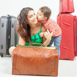 Child with mother ready to travel to Europe, Italy Stock Photography