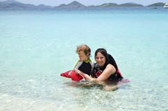 Child and mother snorkeling in tropical ocean Royalty Free Stock Photo