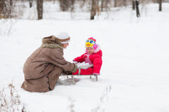 Child with mother in winter Royalty Free Stock Photography