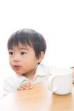 Child and mug Stock Photo