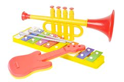 Child musical toys. Against white background Stock Photo
