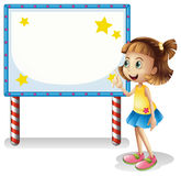 A child near the empty board with series lights Stock Photography